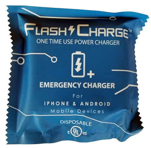 FlashCharge Disposable Power Bank (1000mAh) Emergency Charger - Flashwear LED Fidget Spinner - LED Smartphone Fans - Light Up Shirts