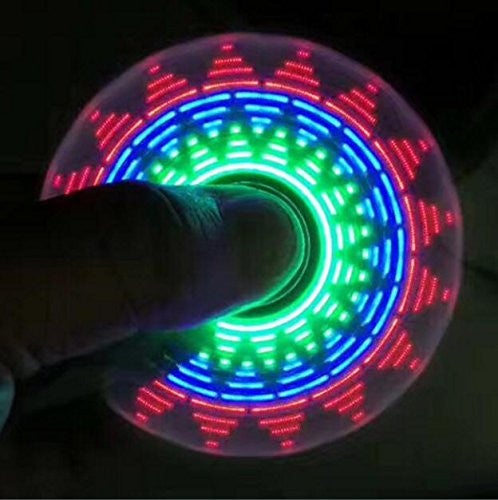 "FlashFidget - ""The Hypnotizing Fidget Spinner"" with 18 Patterns LED Bright Lights - Anti-stress Hand LED Spinners - Amazing LED Light Up Spinners with Hypnotic Designs - Fidget Spinner"