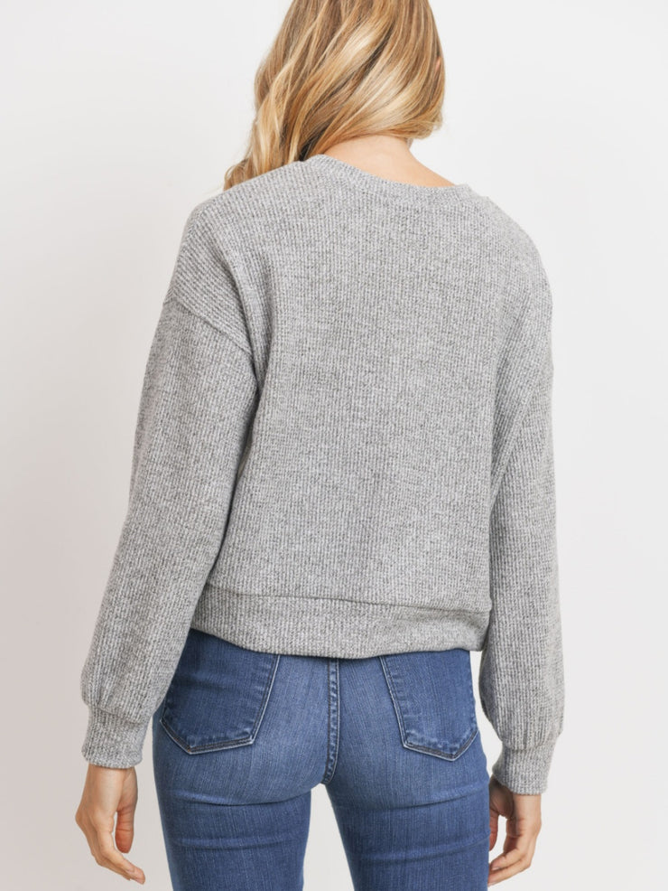 Collette Knit Top - Heather Grey
