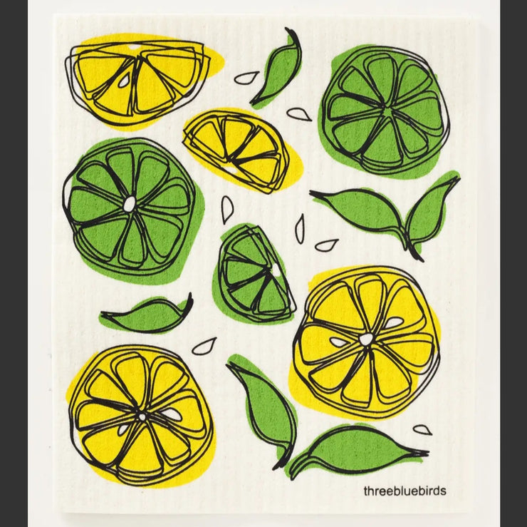 Lemon Lime on White Swedish Dishcloth