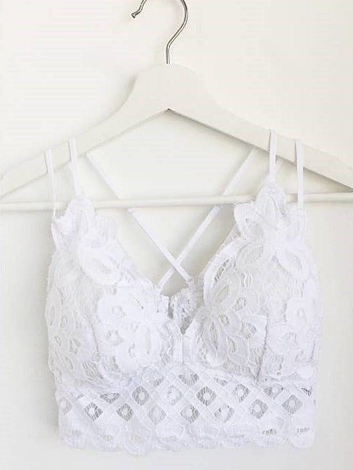 Crochet Lace Bralette - White