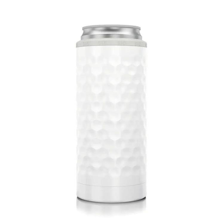Slim Can Cooler Dimpled Golf® - White