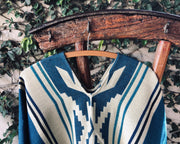 All Women Alpaca Wool Cotton Native Loom Poncho Mujer Lana de Alpaca Algodón Poncho Nativo Loom Telar Bright Blue Beige Azul Claro Celeste AWANA