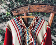 All Women Alpaca Wool Cotton Native Loom Poncho Mujer Lana de Alpaca Algodón Poncho Nativo Loom Telar Bright Red Beige Rojo Encendido  AWANA