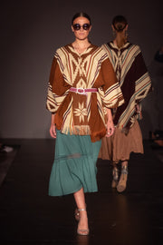All Women Alpaca Wool Cotton Native Loom Poncho Mujer Lana de Alpaca Algodón Poncho Nativo Loom Telar Brown Mustard Café Cocoa Mostaza AWANA