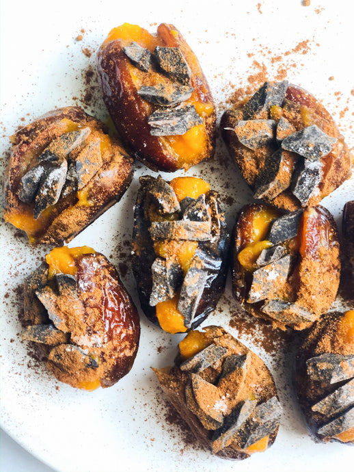 Pumpkin Spice Chocolate Stuffed Dates