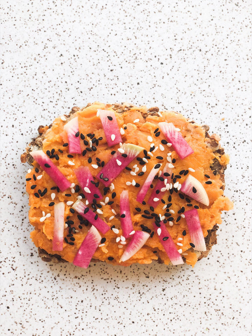 "Easy Sweet Potato and Miso Toast with Watermelon Radish ""Sprinkles"""