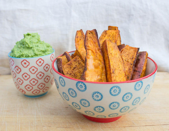 Baked Sweet Potato Wedges with Green Pea & Avocado Dip