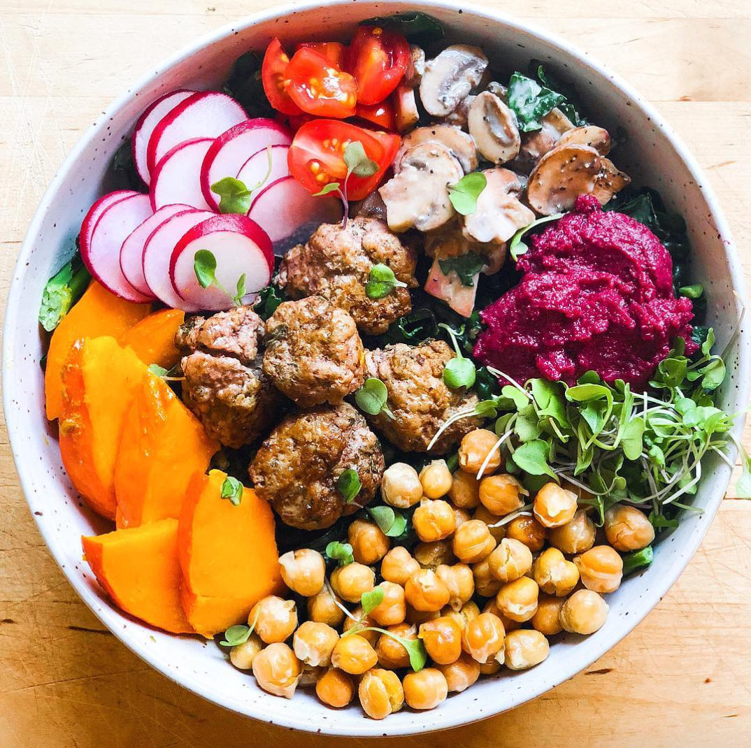 Colorful veggie and meatball bowl