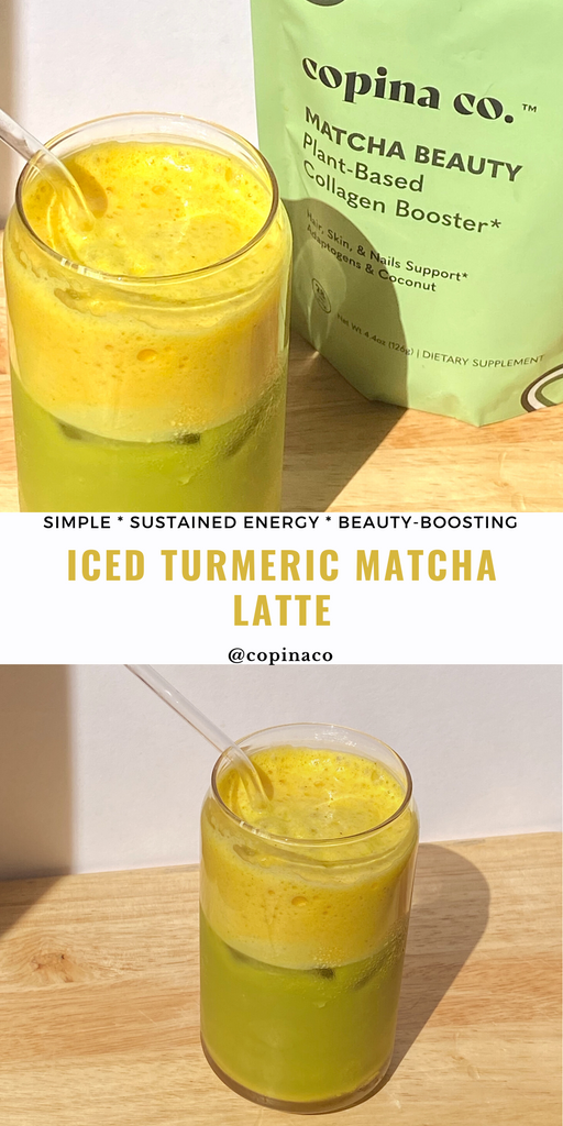 how to make a simple and healthy iced turmeric matcha latte