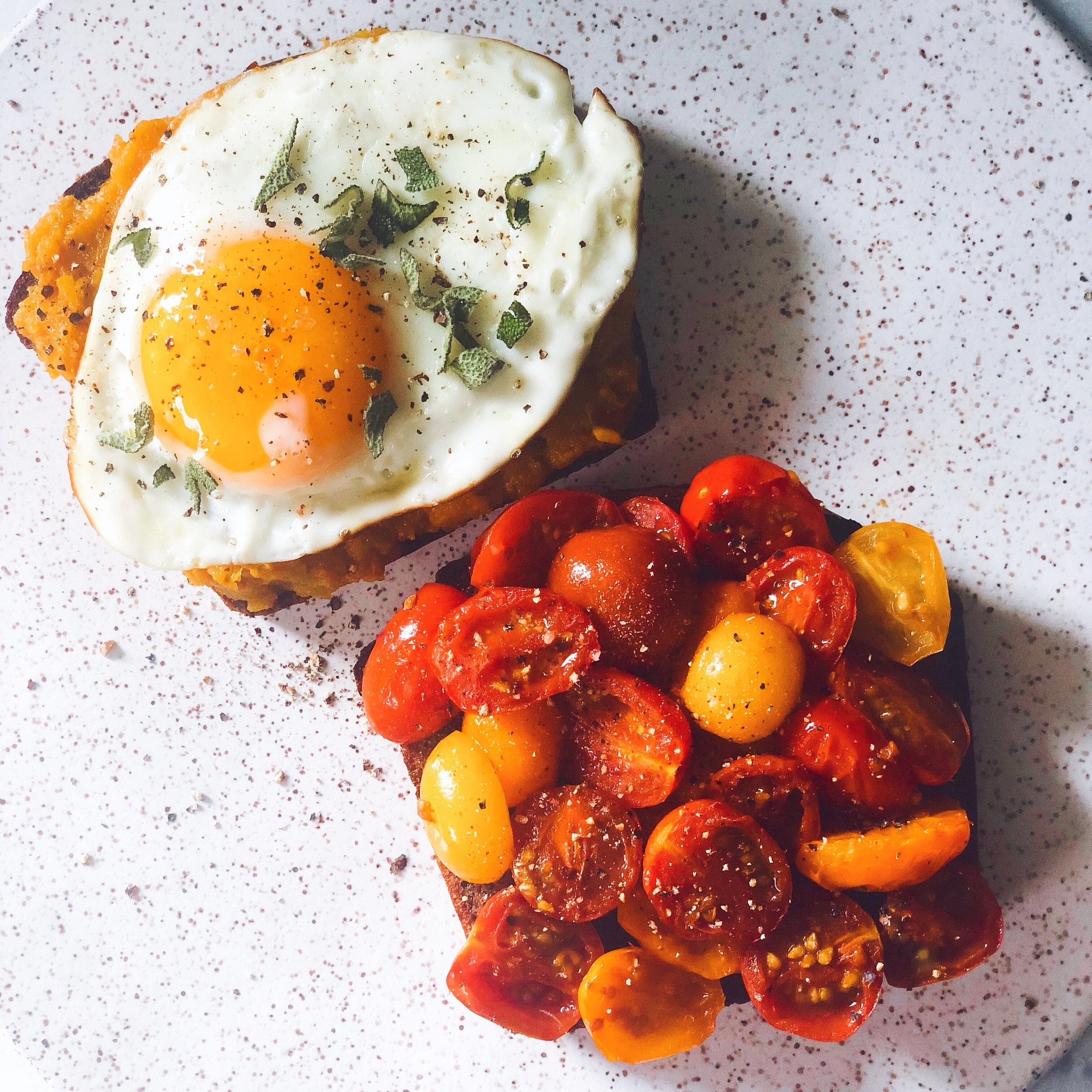 Egg and tomatoes on two pieces of toast