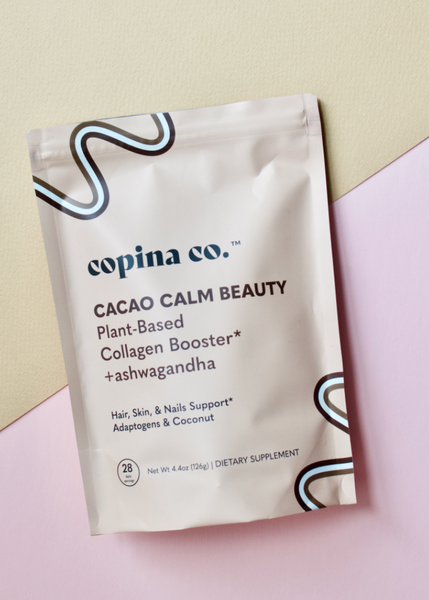plant-based cacao and ashwagandha collagen booster powder