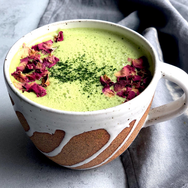 rosewater matcha latte with plant-based collagen booster