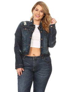 Plus Size Dark Distressed Jean Jacket