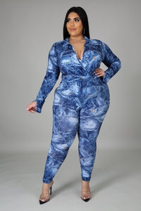 Plus Size Printed  Two Piece