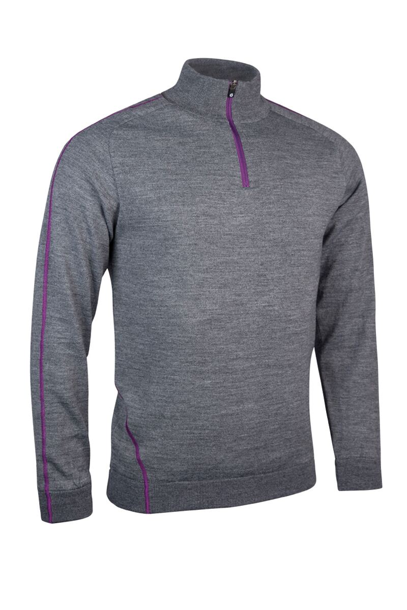 SUNDERLAND OF SCOTLAND HAMSIN WATER REPELLANT LINED SWEATER - GUNMETAL/ULTRAVIOLET