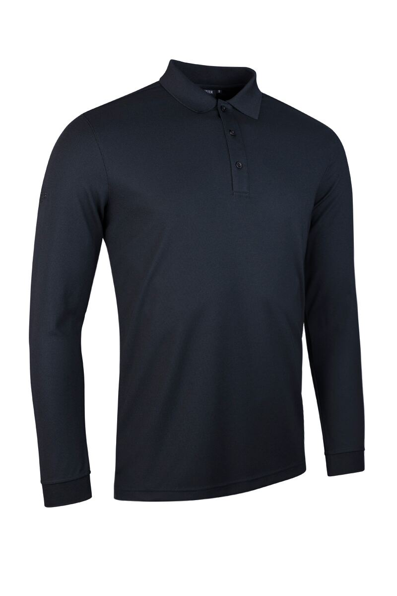 GLENMUIR MAX LONG SLEEVE PERFORMANCE POLO SHIRT - BLACK