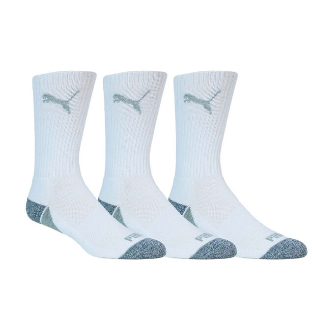 PUMA POUNCE CREW GOLF SOCKS - 3 PACK - WHITE