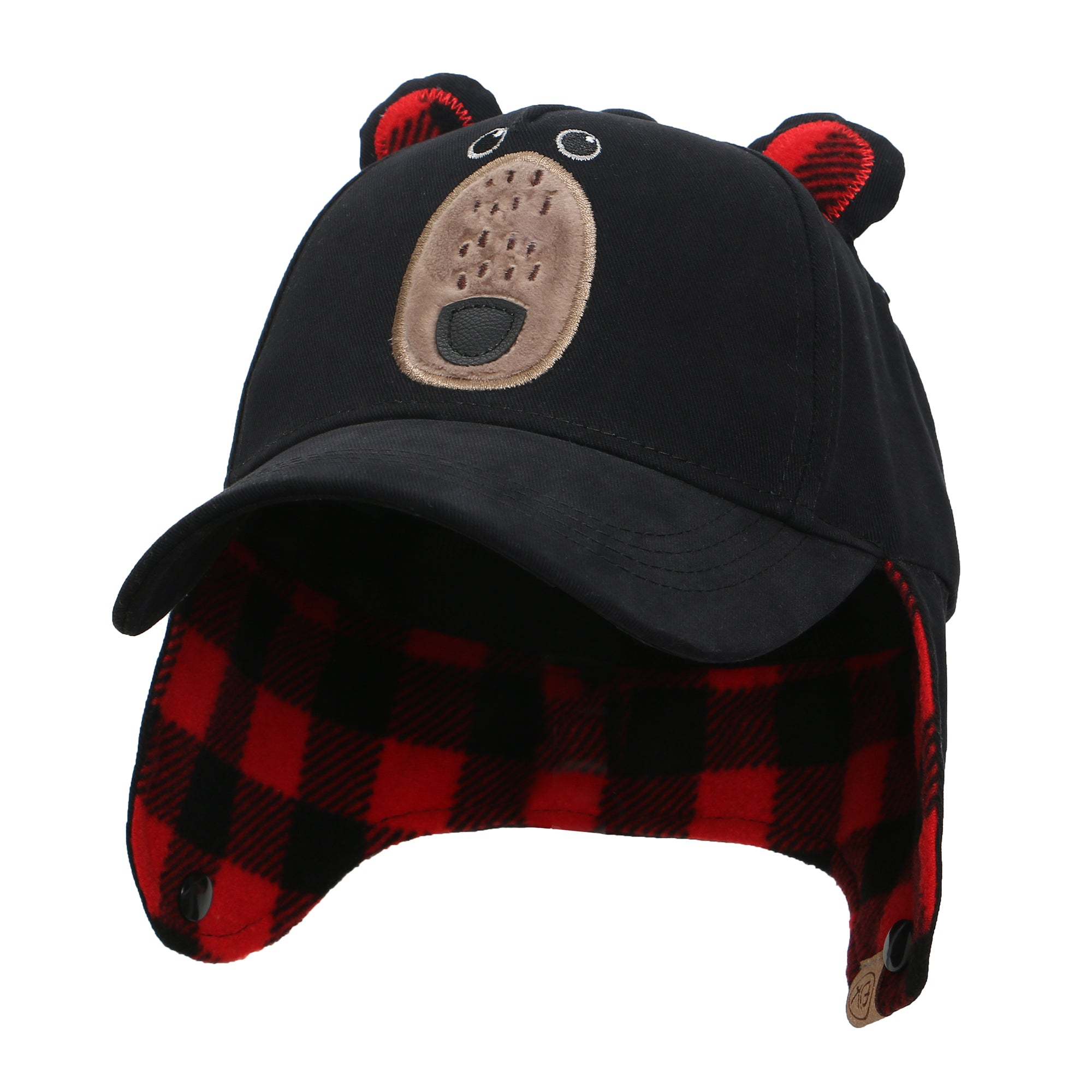 3D Caps with Earflaps - Black Bear
