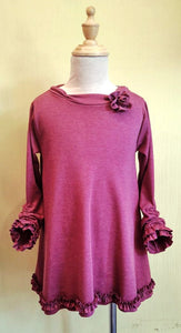 Adjustable Sleeve Knit Dress/Top with Rose
