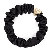 Load image into Gallery viewer, Silk Scrunchie | Silver Heart Charm
