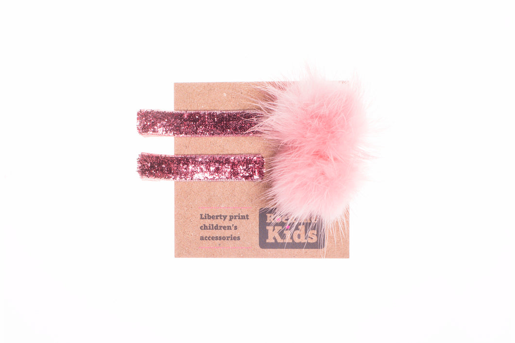 Glitter Pink Pom Pom Hair Accessory Set