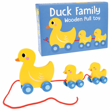 Load image into Gallery viewer, Wooden Duck Family Pull Along Toy