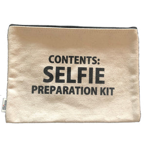 'Selfie Preparation' Canvas Cosmetics Bag