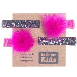 Glitter Pink and Silver Pom Pom Hair Accessory Set