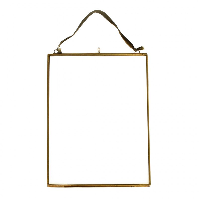 Hanging Glass & Brass Frame 15x20cm