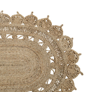 Patterned Oval Jute Rug