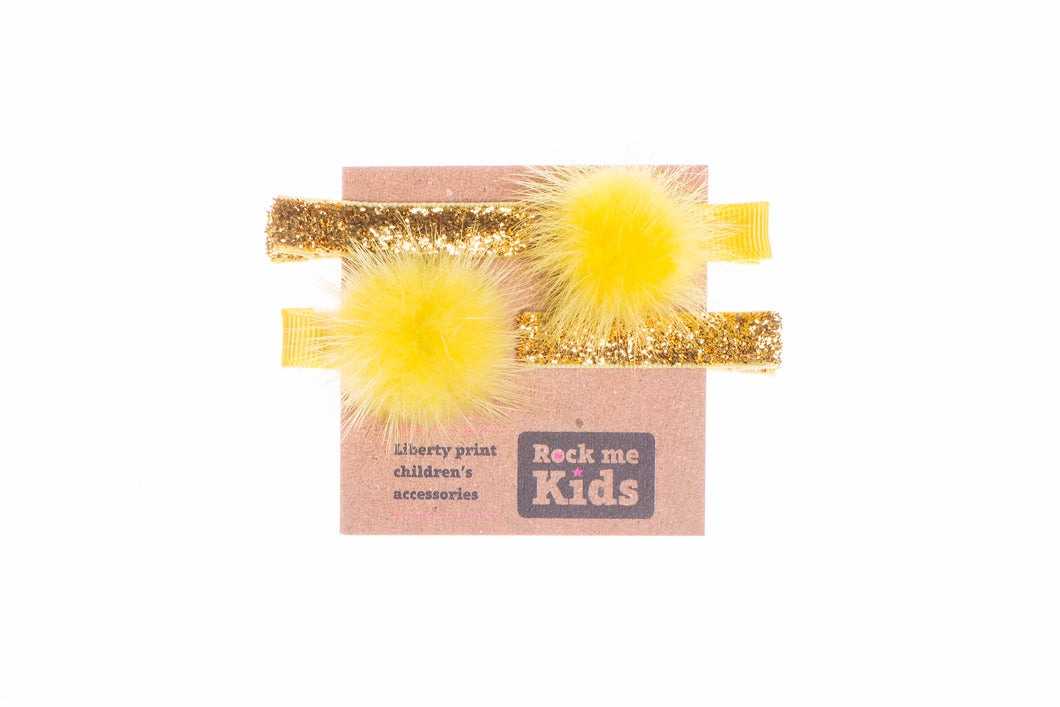 Glitter Gold and Yellow Pom Pom Hair Accessory Set