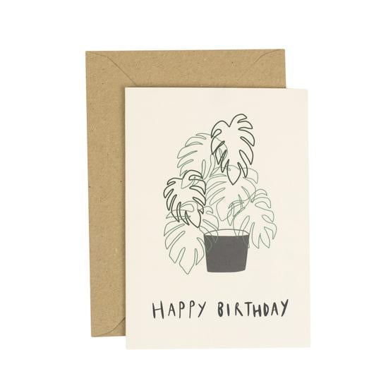 Monstera Birthday Greetings Card