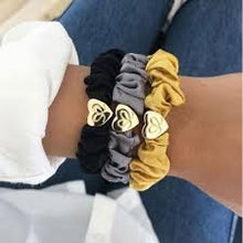 Load image into Gallery viewer, Silk Scrunchie | Gold Heart