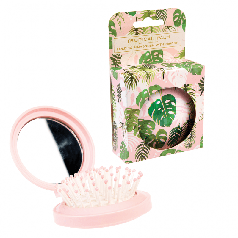 Tropical Palm Compact Hairbrush and Mirror