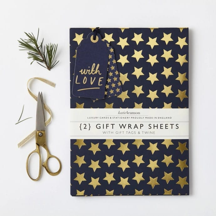 Navy Copper Star Gift Wrap Set