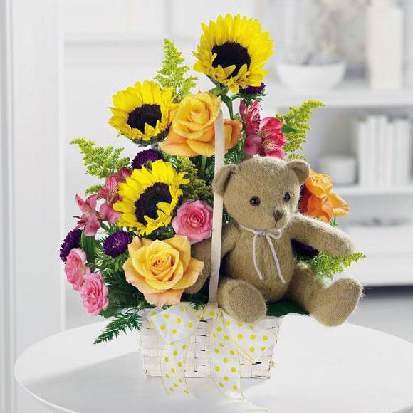Flower Delivery Florist Funeral Sympathy Naples A Ray Of Sunshine Basket