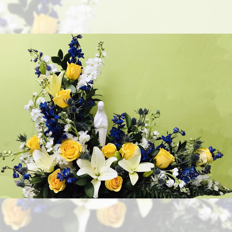 Flower Delivery Florist Funeral Sympathy Naples Blue And Gold Madonna Memorial