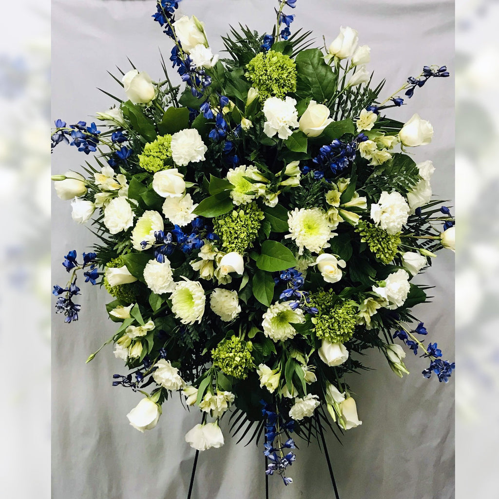 Flower Delivery Florist Funeral Sympathy Naples Blue Provence Standing Spray