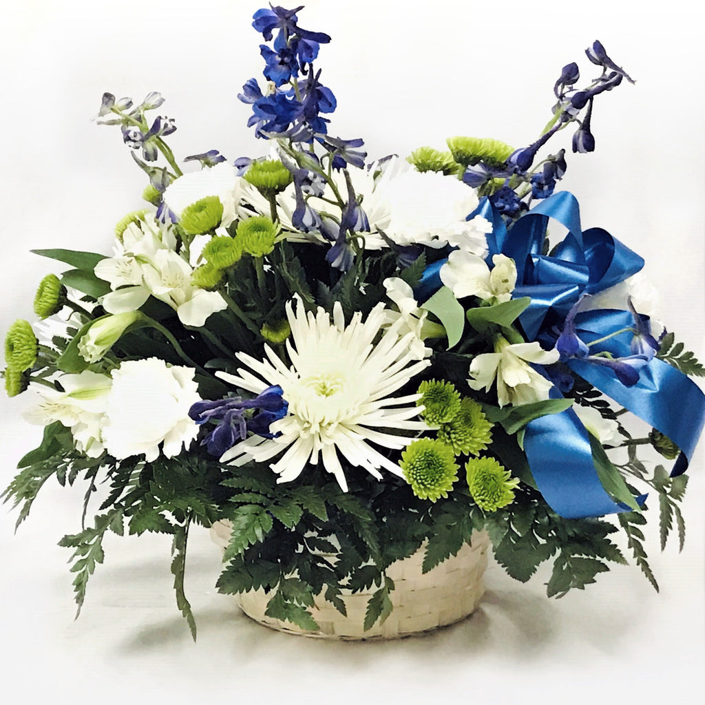 Flower Delivery Florist Funeral Sympathy Naples Blue Provence Wicker Basket