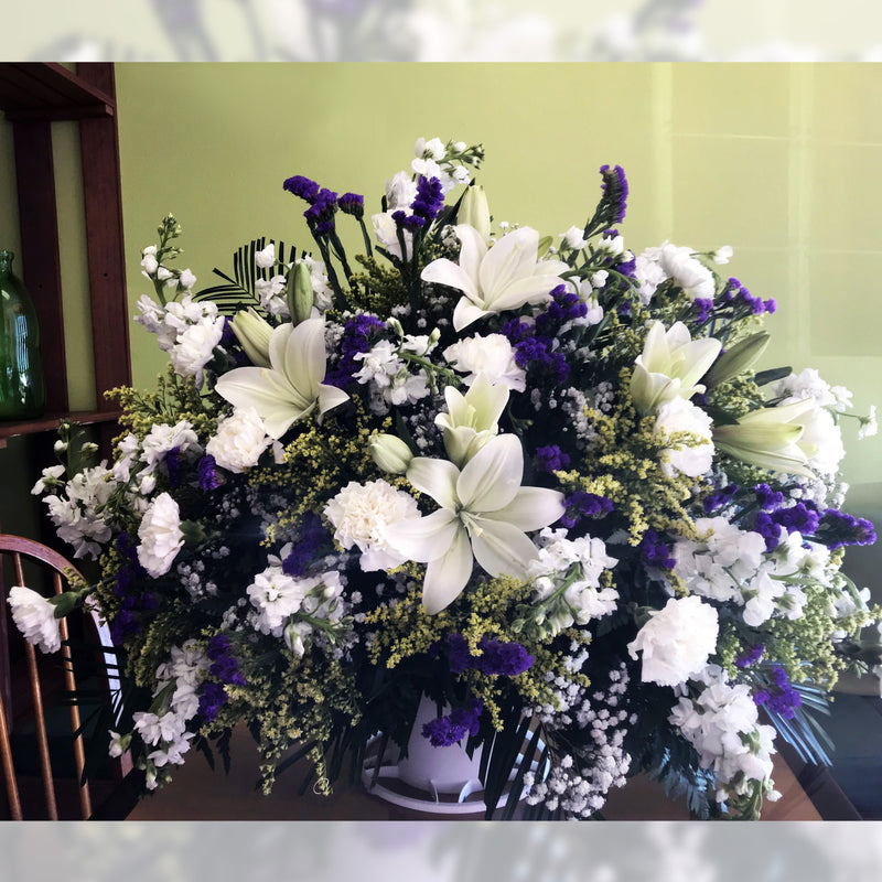 Flower Delivery Florist Funeral Sympathy Naples Blue Splendor Summer Basket
