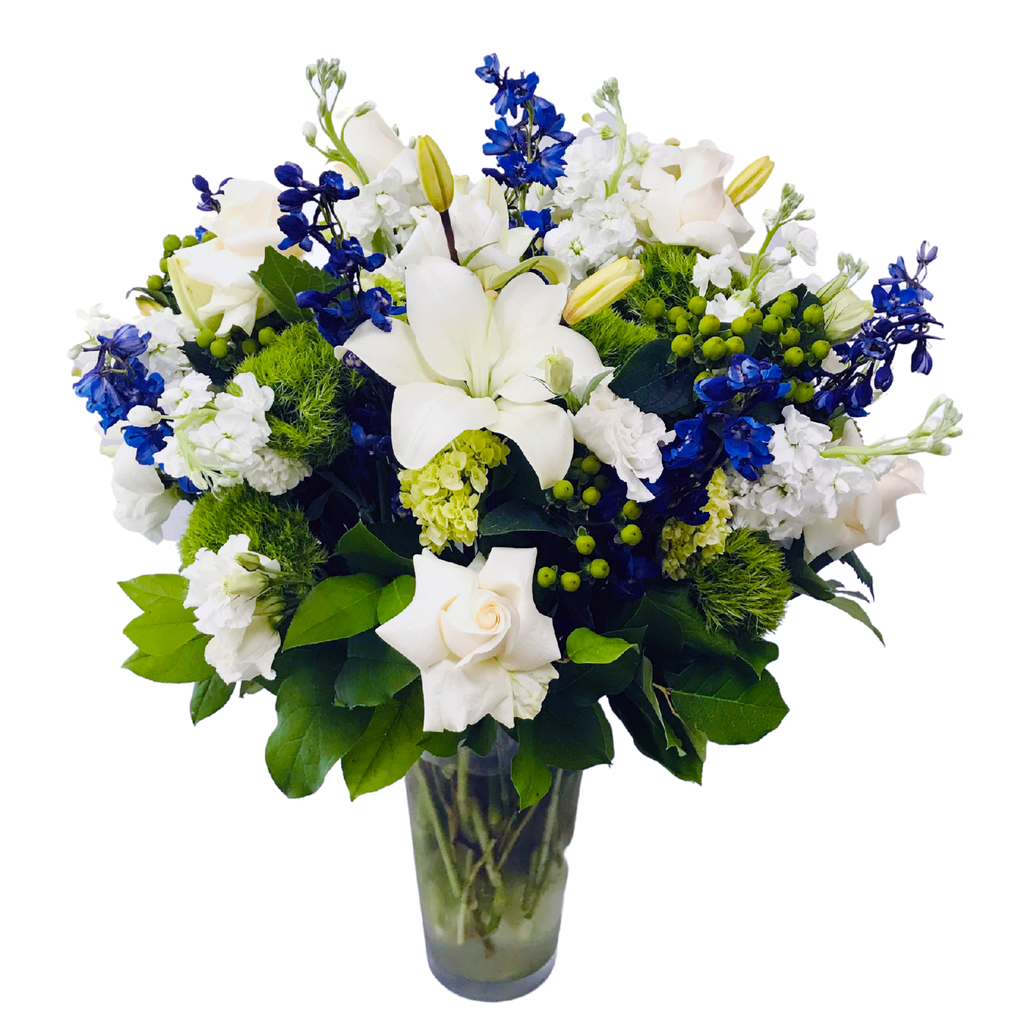 Flower Delivery Florist Funeral Sympathy Naples Deluxe Blue Provence Vase