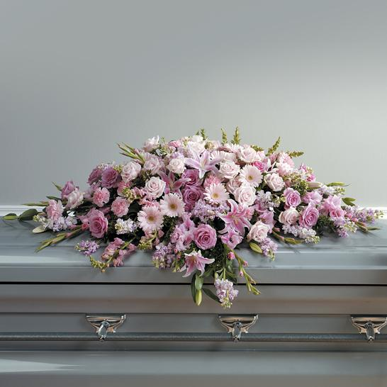 Flower Delivery Florist Funeral Sympathy Naples Deluxe Gentle Loving Tribute Casket Spray