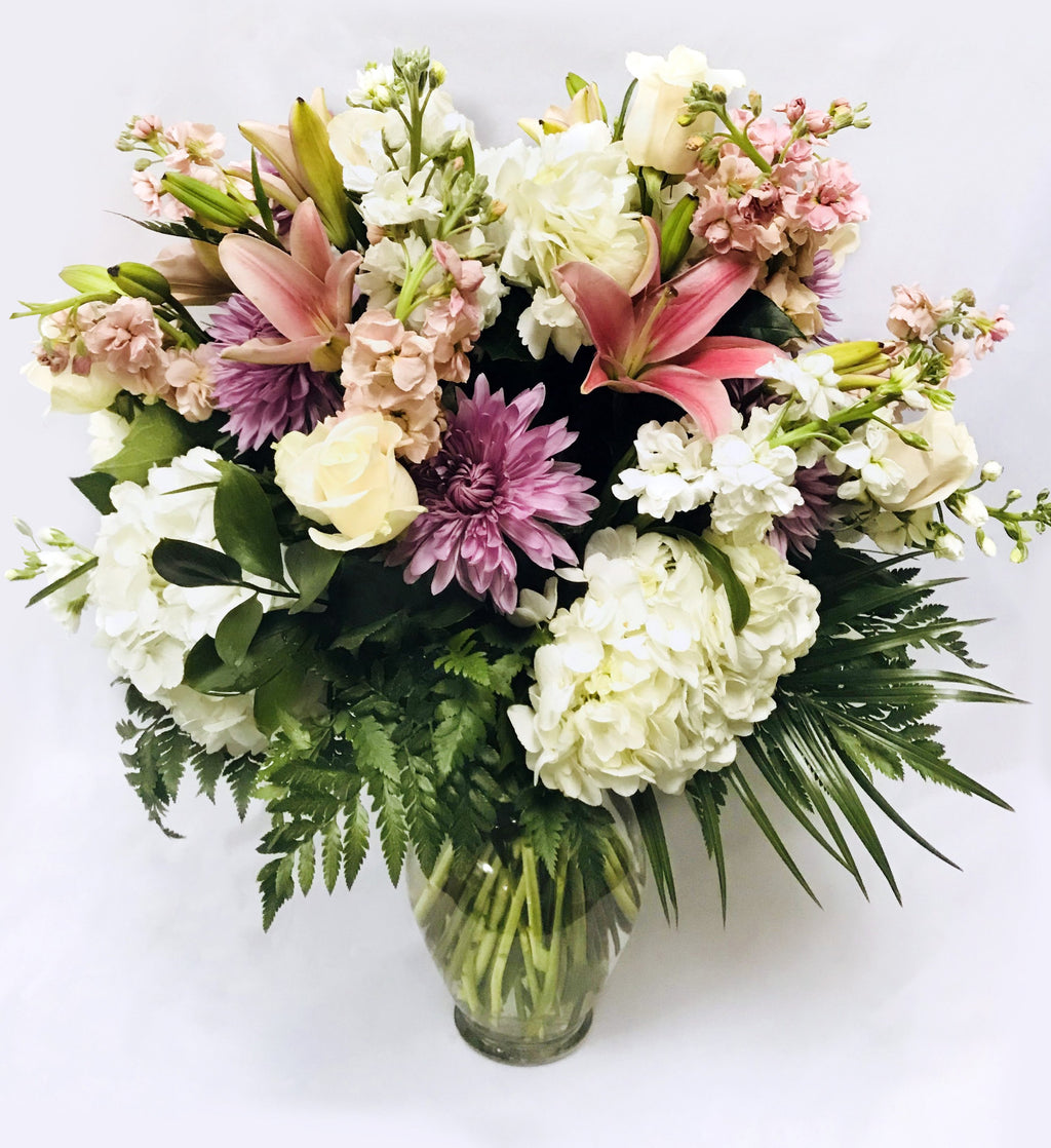 Flower Delivery Florist Funeral Sympathy Naples Deluxe Heavenly Pink Vase