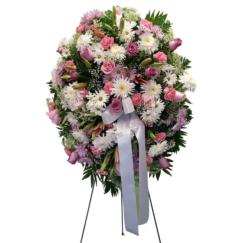Flower Delivery Florist Funeral Sympathy Naples Dreams In Pink Standing Spray