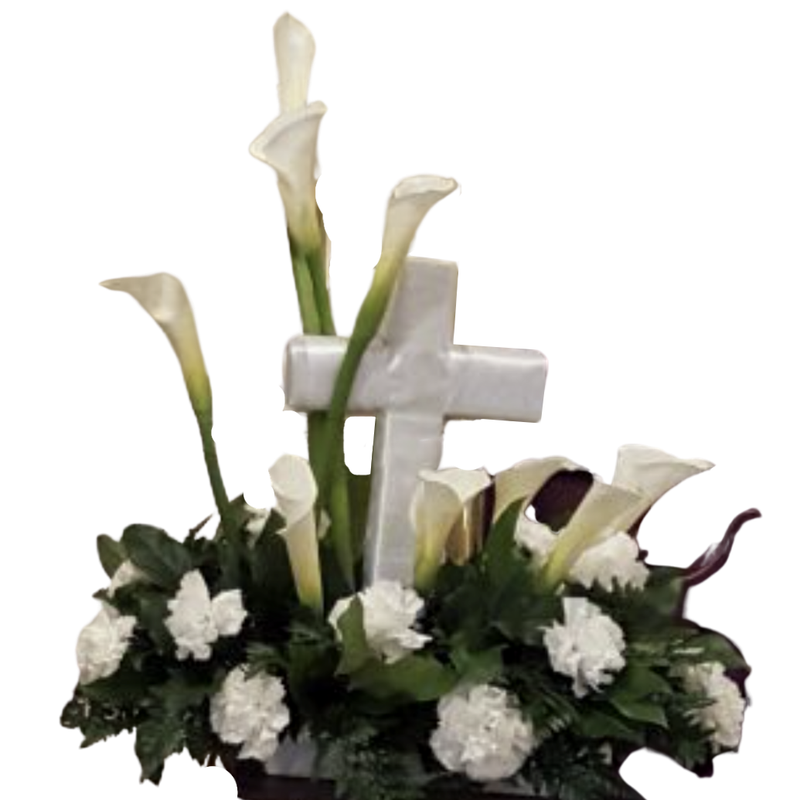 Flower Delivery Florist Funeral Sympathy Naples Peace And Love Calla Table Cross
