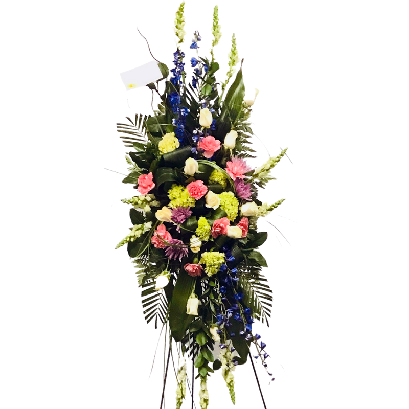 Flower Delivery Florist Funeral Sympathy Naples Pink Garden Standing Spray