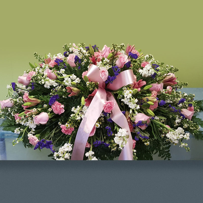 Flower Delivery Florist Funeral Sympathy Naples Pink Memorial Casket Spray