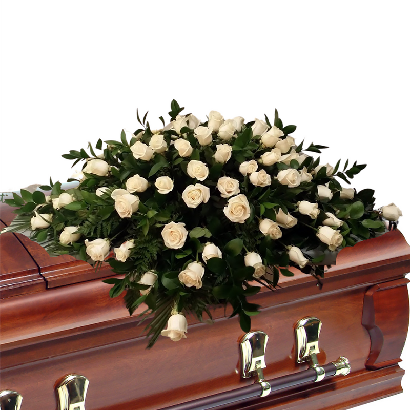 Flower Delivery Florist Funeral Sympathy Naples Pure Love Deluxe Casket Spray