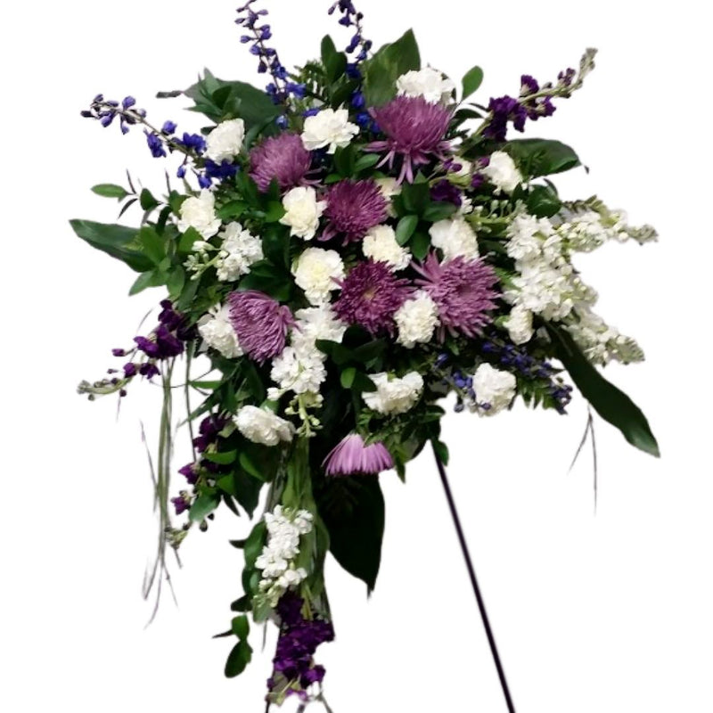 Flower Delivery Florist Funeral Sympathy Naples Purple Standing Spray